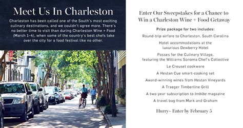 Williams Sonoma Giveaway - williams sonoma trip to charleston wine food sweepstakes 2018