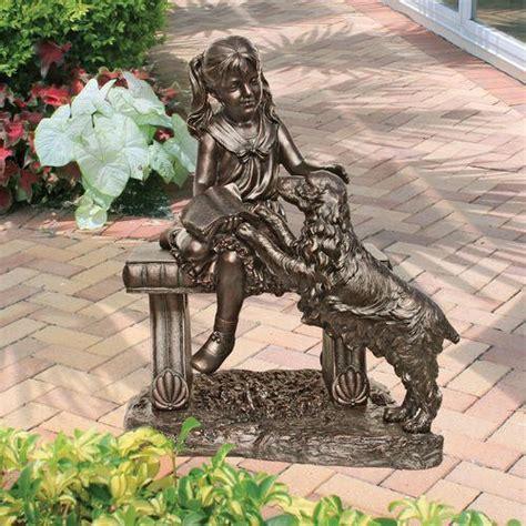 little girl sitting on bench statue garden sculptures statues yard art webnuggetz com