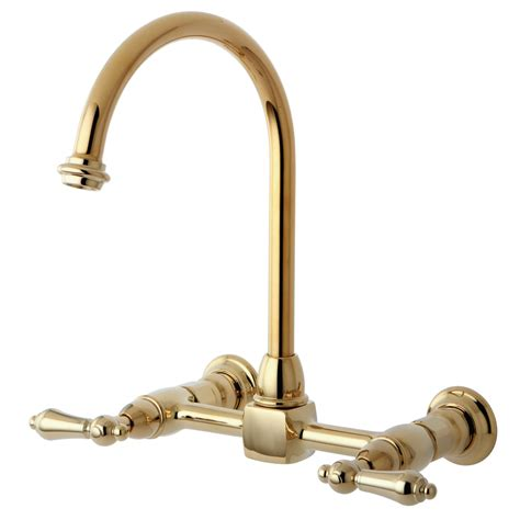 wall faucets kitchen kingston brass ks1292al 8 inch wall mount goose neck kitchen faucet polished brass kingston brass