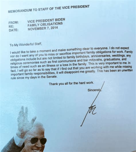 Thank You Letter Vice President Awesome Letter From Joe Biden To His Staff Every