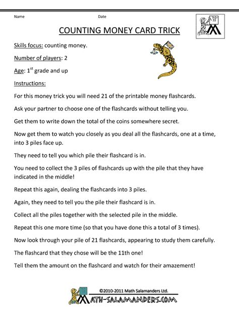 printable card trick instructions counting money games
