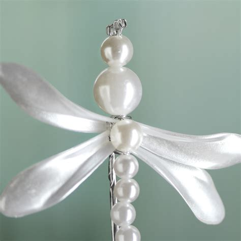 white pearl dragonfly floral spray picks and stems