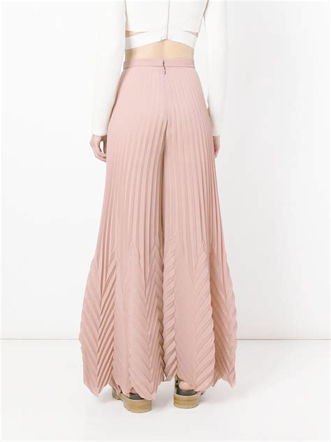 light pink palazzo pants msgm multi pleat palazzo pants in pink lyst