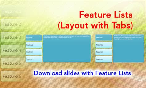 layout features list feature lists layout with tabs