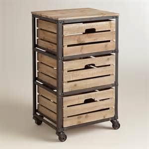 Drawers And Carts Metal And Wood 3 Drawer Josef Rolling Cart World Market