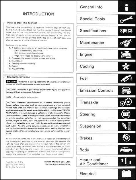 service manuals schematics 1986 honda prelude lane departure warning 1986 honda prelude repair shop manual original