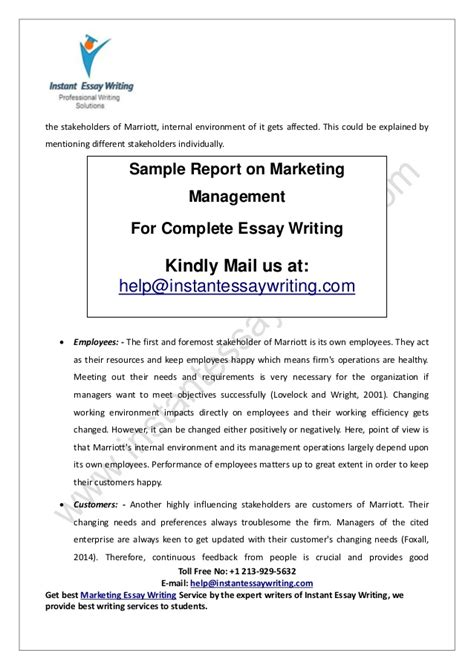 Instant Essay Writer by Sle Report On Marketing Management By Instant Essay Writing