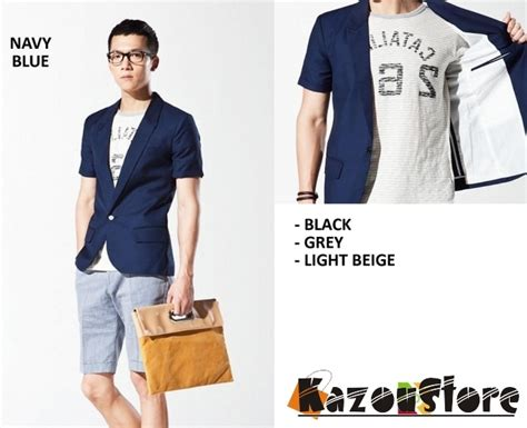 Jaket Jas Jas Blazer Casual Biru detil produk blazer pria casual biru kode njs25 kazoustore