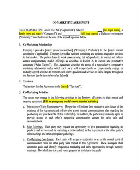 12 Marketing Agreement Sles And Templates Pdf Sle Templates Co Marketing Agreement Template