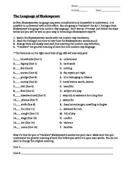 pattern of language in romeo and juliet romeo and juliet prologue worksheet geersc