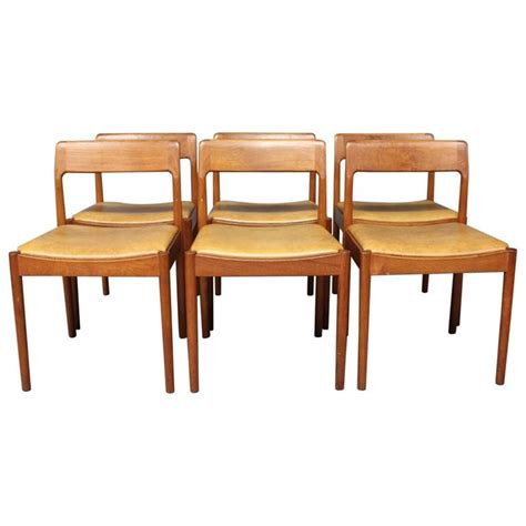 Teak Dining Room Furniture Set Of Six Dining Room Chairs In Teak By N O M 248 Ller 1960s For Sale At 1stdibs