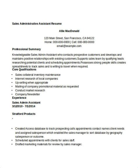 Resume Sle Of Administrative Assistant by 8 Sle Sales Assistant Resumes Free Sle Exle Format Free Premium Templates