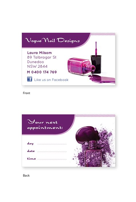 business card template for nail technicians business card design design for milsom a company in