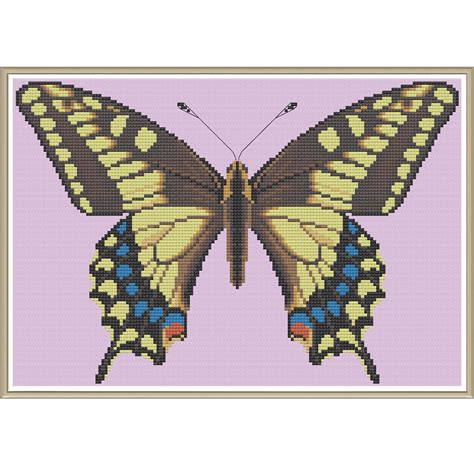 yellow pattern butterfly yellow swallowtail butterfly crossstitch by hornswoggle