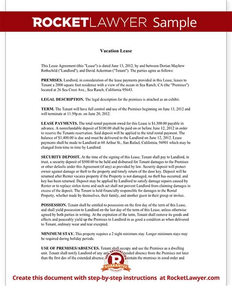 vacation rental agreement contract vacation lease