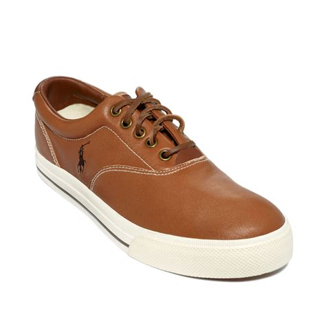 polo leather sneakers polo ralph vaughn leather sneakers in brown for