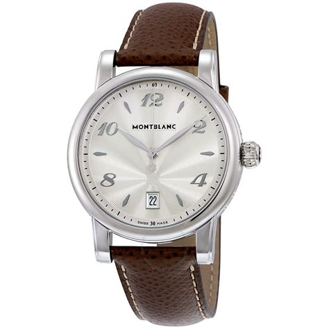 montblanc date silver brown leather s