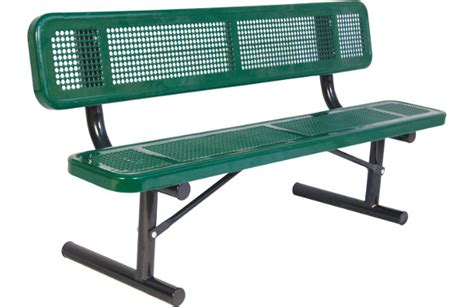perforated metal bench perforated metal bench with back site furnishings