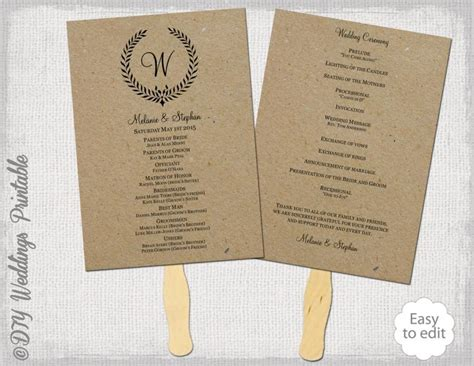 wedding program fans diy template rustic wedding fan program template quot leaf garland quot diy