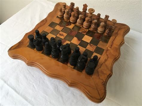 handmade wooden chess table with pieces catawiki