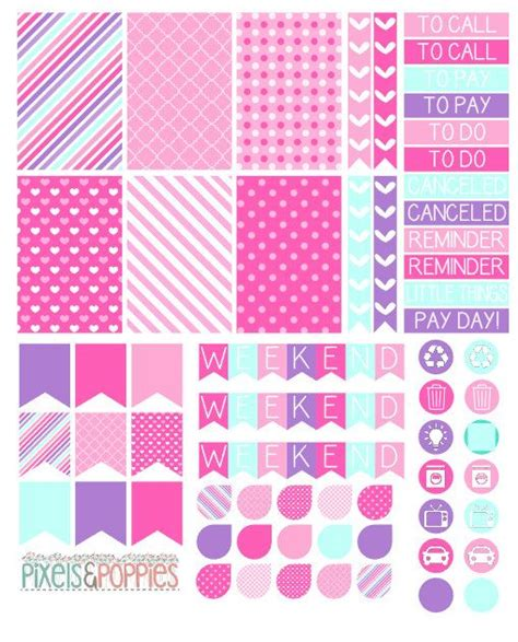 girly daily planner printable 73 girly theme stickers planner stickers by