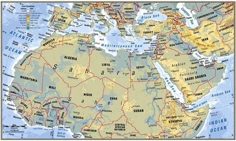 africa and southwest asia physical map africa map