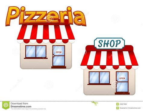 Door Awning Plans Cartoon Shop And Pizzeria Icons Stock Vector Image 45807889