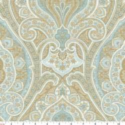 Make Your Own Valances Blue And Taupe Paisley Fabric By The Yard Blue Fabric