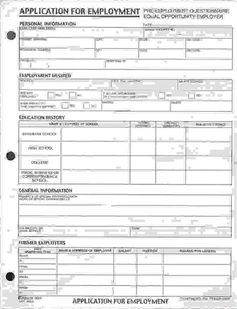 free printable application for employment template okl
