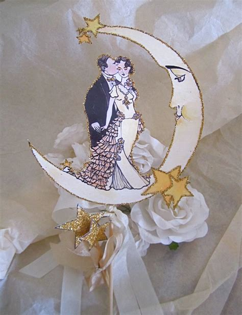 deco wedding cake toppers deco crescent moon wedding cake topper of the crescent moon
