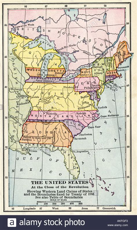 united states in 1783 map revolutionary united states map 1783 images