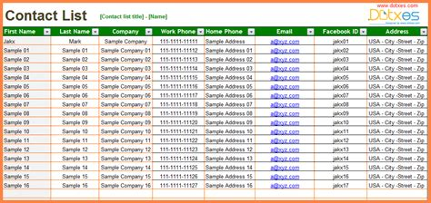 excel template contact list 4 excel spreadsheet contact list template budget