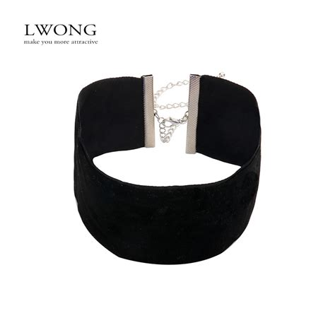 Wa Kalung Choker Wide Black 2016 top trendy 5cm wide black velvet choker necklace 90s basic plain black velvet