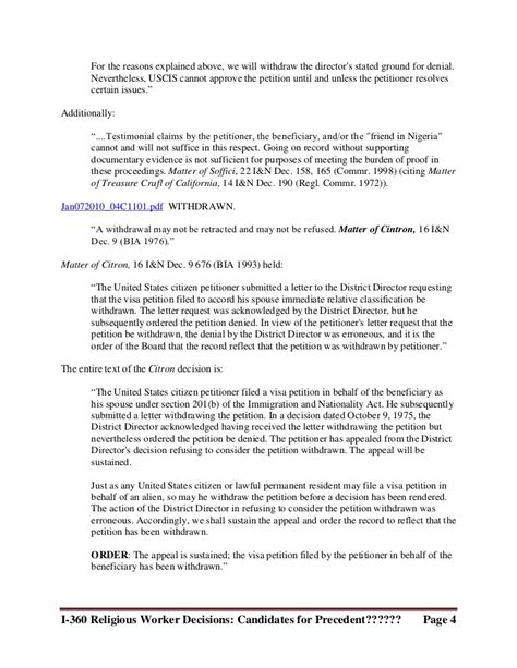 Withdrawal Letter Sle For Immigration Special Immigrant Religious Workers Aao Decisions 2010 6 22 2011