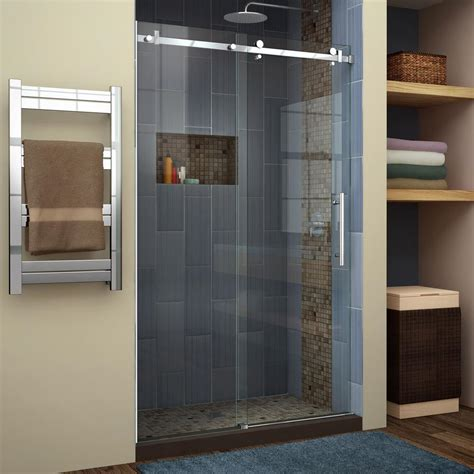 Frameless Shower Doors Sliding Dreamline Enigma Air 44 In To 48 In X 76 In Frameless Sliding Shower Door In Polished