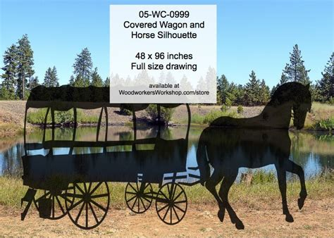 covered wagon  horse silhouette yard art woodworking