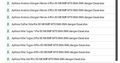 format buku remedial aplikasi analisis ulangan harian pai dan pkn sd smp sma