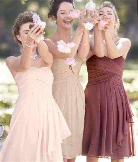 petal colored bridesmaid dresses david s bridal colors petal chagne rosewood