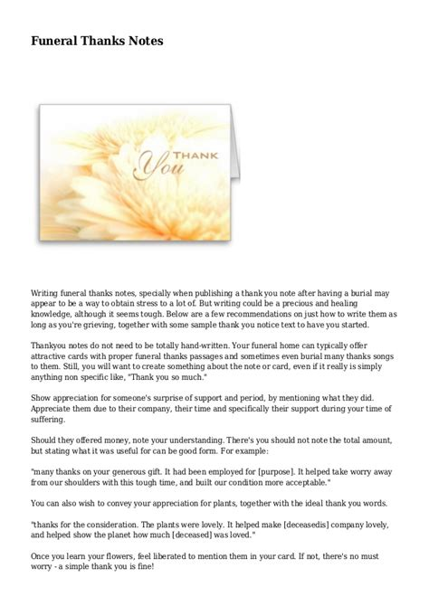 letter of thanks and appreciation after a funeral funeral thanks notes