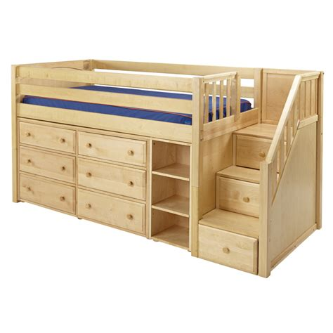 Bed Dressers by Great Low Loft Bed With Dressers Bookcase And Staircase
