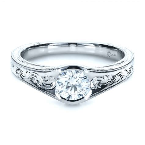 custom engraved solitaire engagement ring bellevue