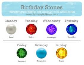 birth colors birthday stones birthstone color chart based on the day