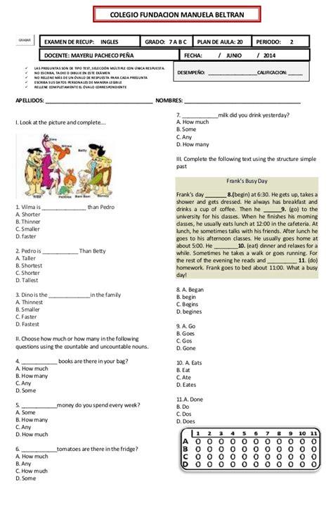 preguntas en ingles nivel 1 examen de recuperaci 243 n de ingles grado 7 plan 20 1