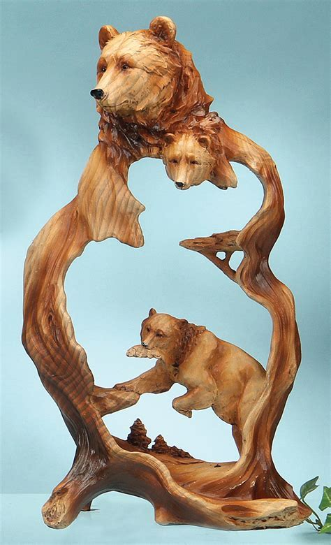 Bear Wood Style Carving Sculpture