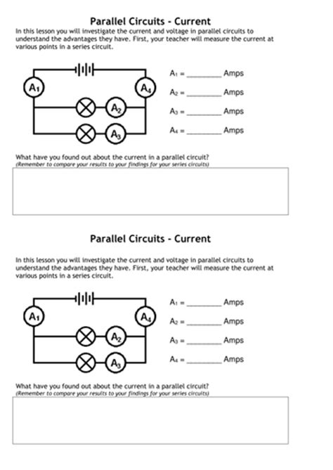 resistors grade 9 current voltage in series parallel circuits by tafkam teaching resources tes