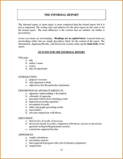 Report Essay Format by 10 Informal Report Writing Format Lease Template