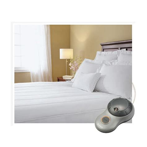 sunbeam quilted striped heated electric mattress pad