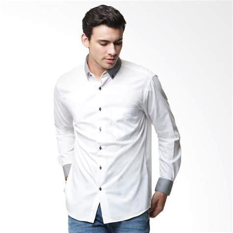 Kemeja Cowok Alisan jual alisan 0300sfkdc 10198 ls putih kombinasi panjang kemeja pria putih harga