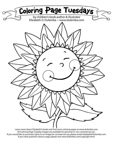 Coloring Page Tuesdays by Dulemba Coloring Page Tuesday Sunflower Coloring Home
