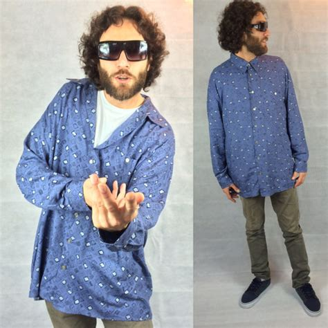 crazy pattern button up shirts vintage 80s blue geometric print shirt button up n retruly